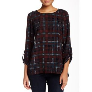 Bobeau plaid Hi-Lo Tunic Blouse